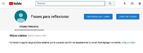 Canal de Youtube listo para subir videos