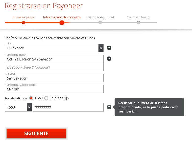 Cómo crear una cuenta Payoneer en El Salvador paso 2