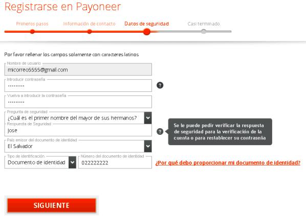 Cómo crear una cuenta Payoneer en El Salvador paso 3