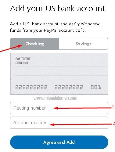 Paso 3: Ingresar otros datos bancarios en PayPal