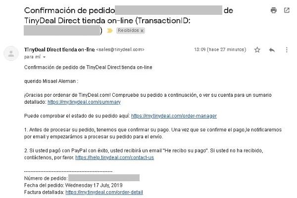 Comprando en TinyDeal desde El Salvador