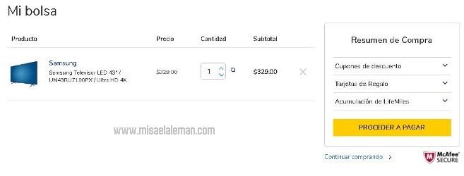 Comprando en La Curacao El Salvador con PayPal